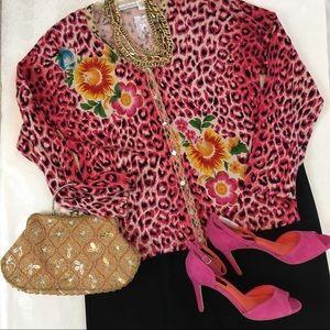 Vtg Embellished Leopard Floral Cardigan Size M